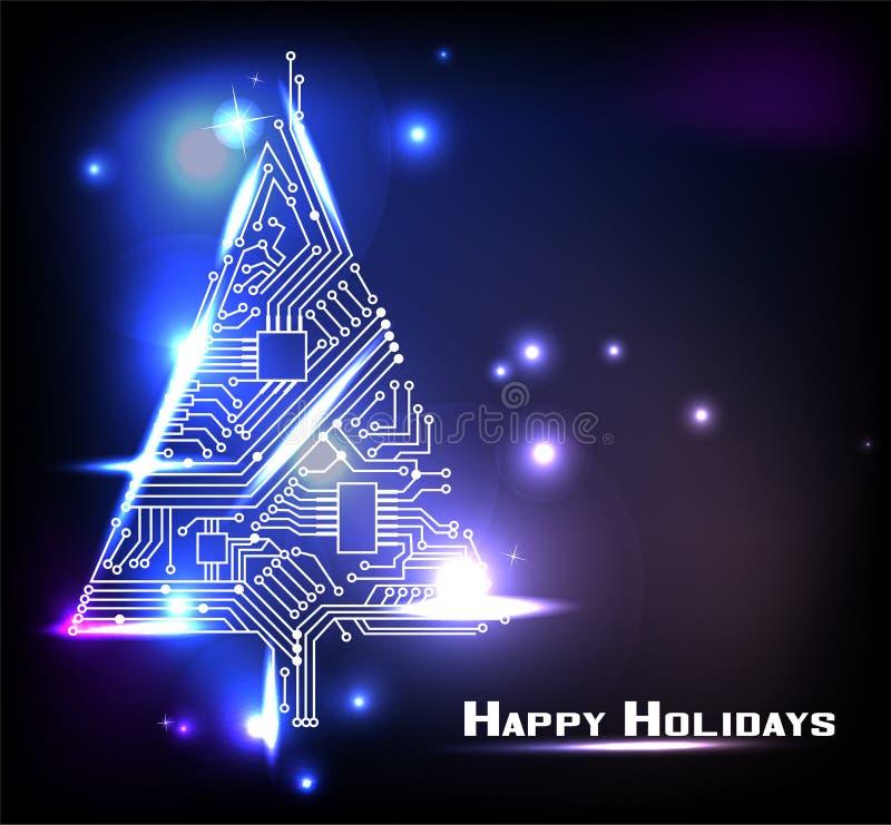 高科技圣诞树 库存例证