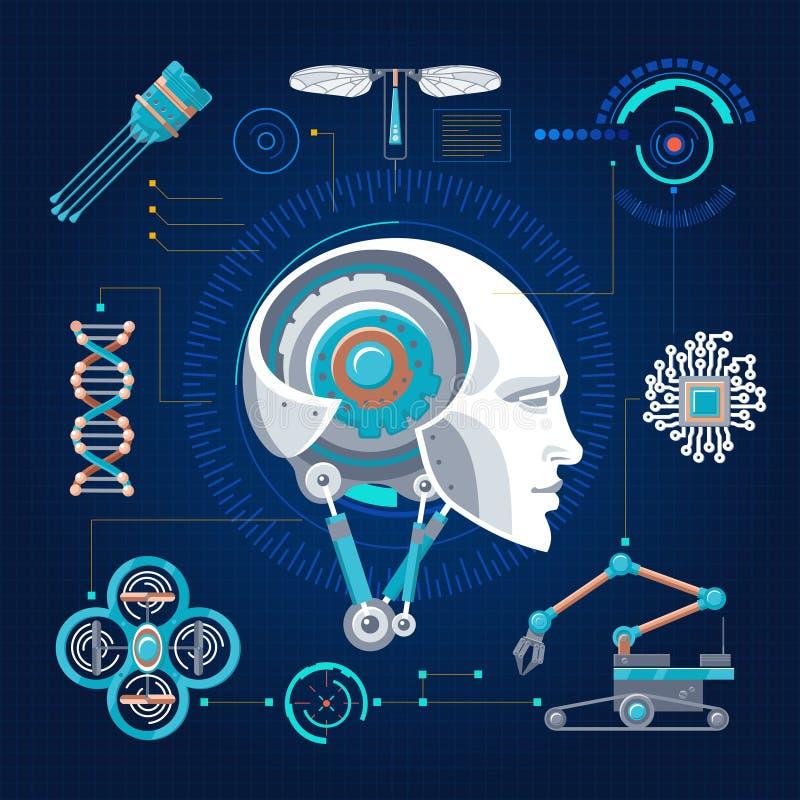 高科技技术概念 向量例证