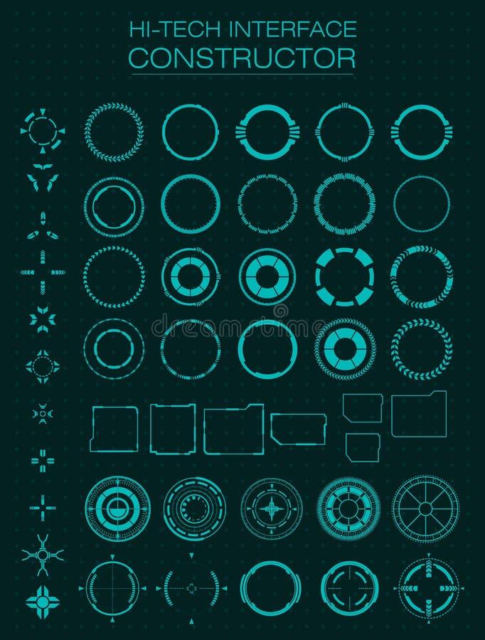 高科技接口建设者 设计hud的,用户界面,动画,行动设计元素 库存例证