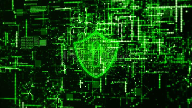 高科技数字技术网络安全显示全息照相的信息抽象背景 库存例证