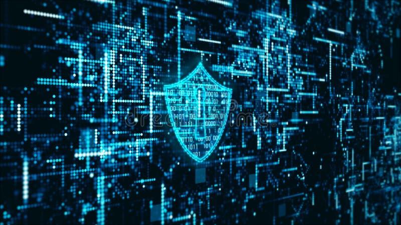 高科技数字技术网络安全显示全息照相的信息抽象背景 向量例证