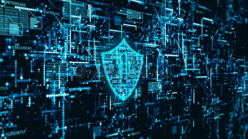 高科技数字技术网络安全显示全息照相的信息抽象背景 皇族释放例证