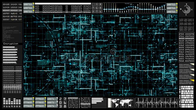 高科技数字技术通信和连接与未来派用户界面头显示 地球元素装备了  库存例证