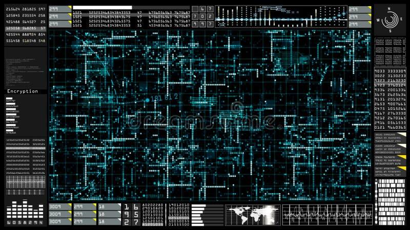 高科技数字技术通信和连接与未来派用户界面头显示 地球元素装备了  皇族释放例证