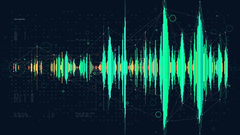 高科技数字技术频率波浪图概念,形象化复杂数据的未来派hud 皇族释放例证
