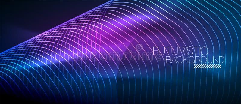 高科技未来派techno背景、霓虹形状和小点 皇族释放例证