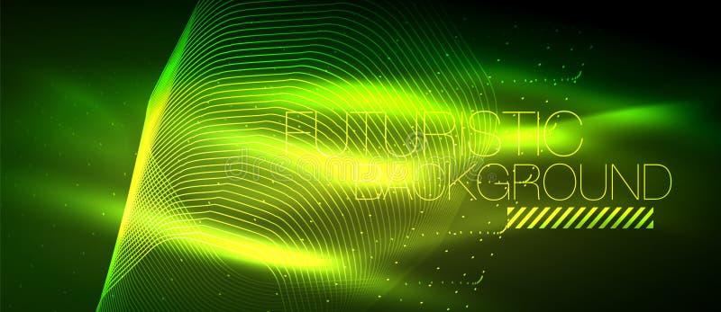 高科技未來派techno背景,霓虹形狀和小點圖片