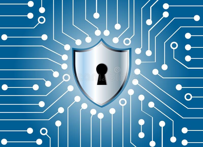 高科技电路板和钥匙锁虚屏技术b 库存例证
