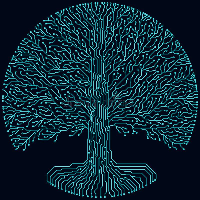 高科技电路样式圆的yggdrasil树 计算机国际庞克未来派设计 库存照片