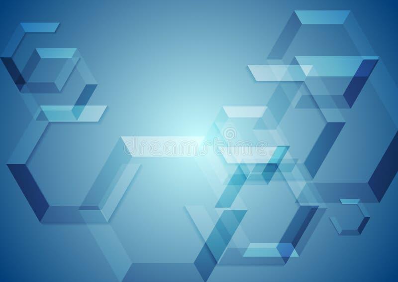 高科技蓝色几何背景 皇族释放例证