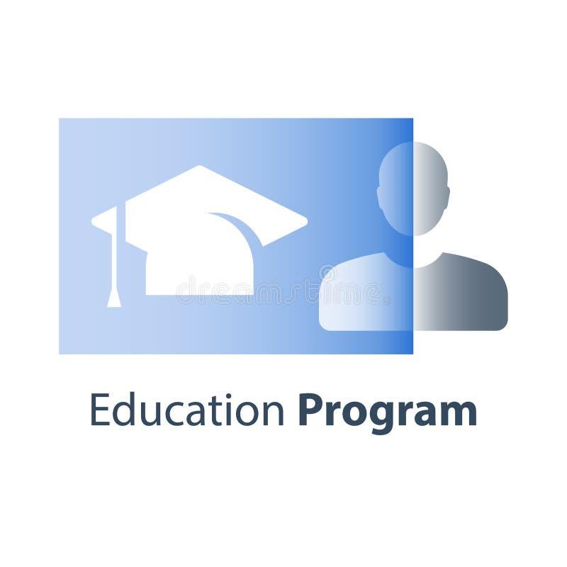 高等教育,毕业帽子,大学学费,主要程度,商学院训练,学院学生,奖学金概念 皇族释放例证