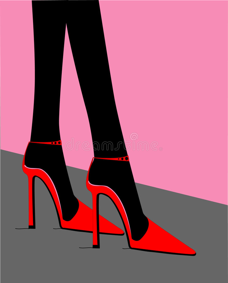 高红色的脚跟 库存例证