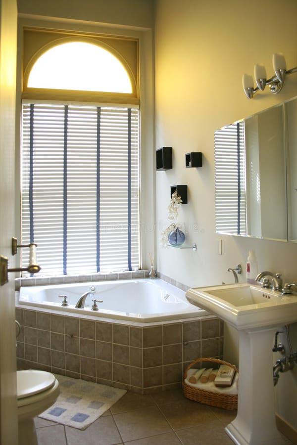 高级卫生间壁角木盆 库存图片
