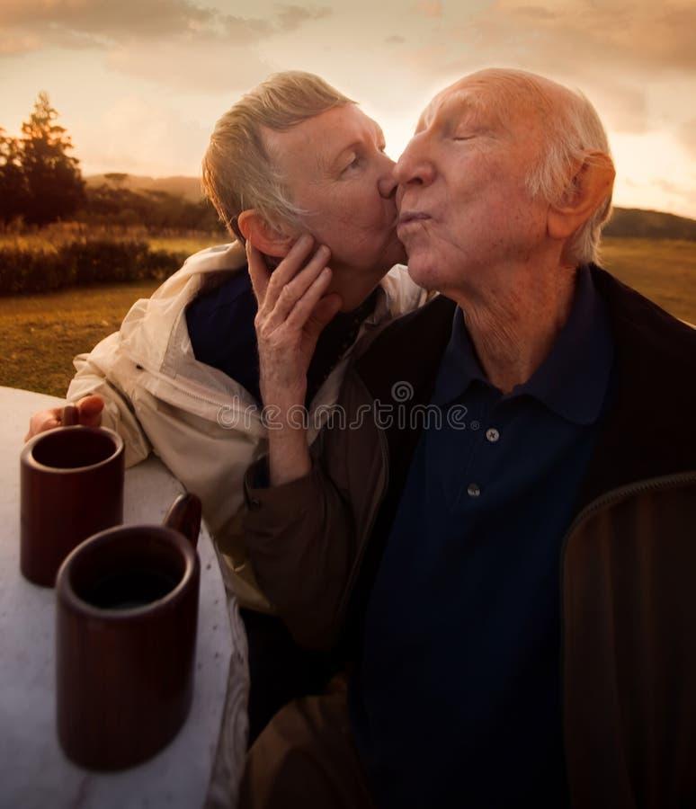 高级夫妇亲吻 免版税库存照片