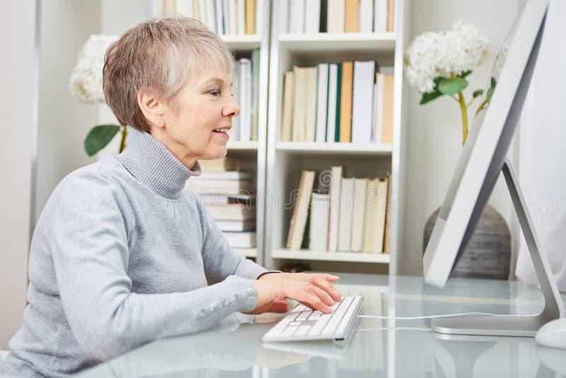 高级女实业家与计算机一起使用 库存照片