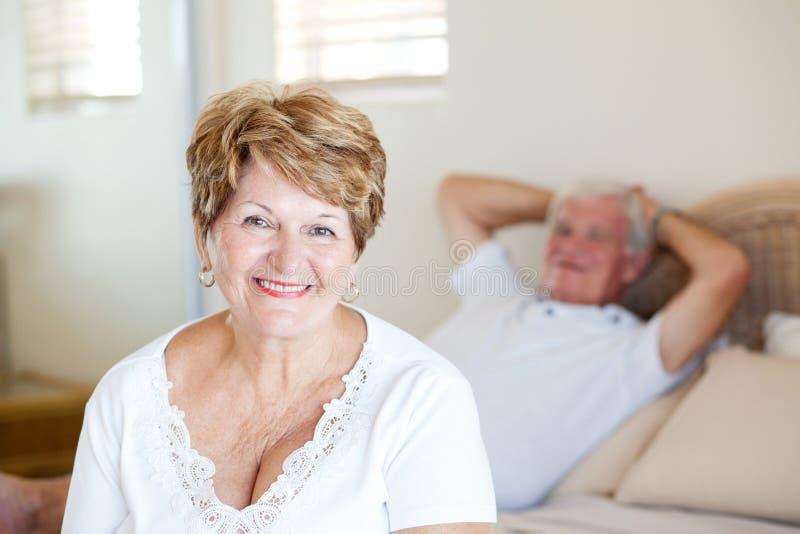 高级妇女和丈夫 库存图片
