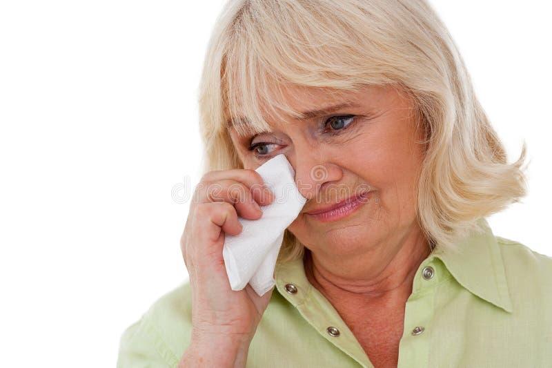 高级妇女哭泣 免版税库存照片