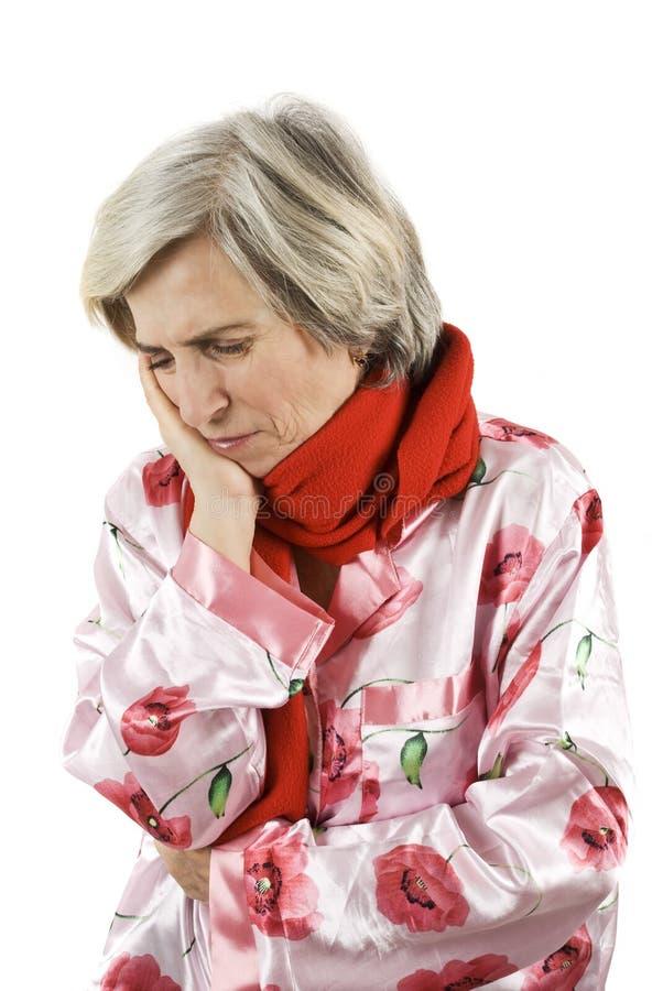 高级牙痛妇女 免版税库存图片