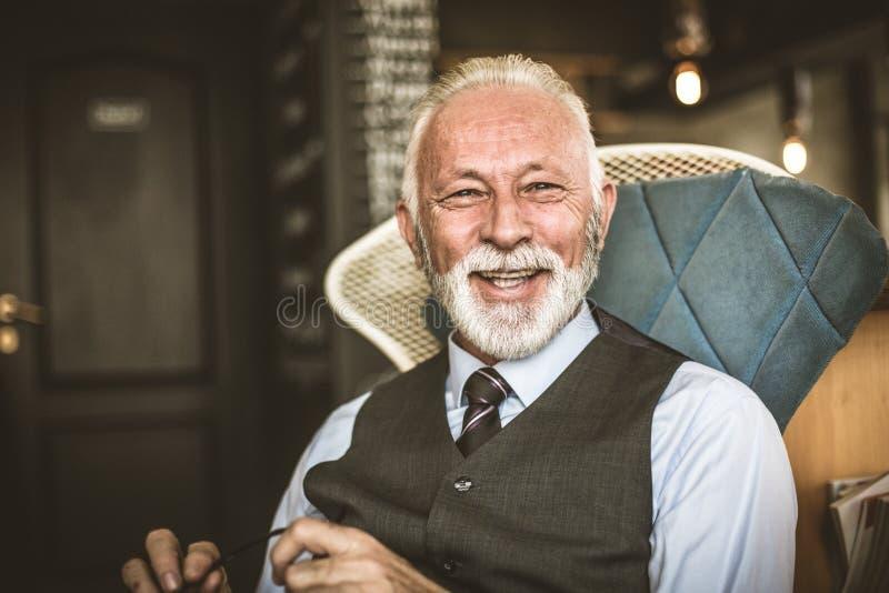 高级生意人纵向 微笑和成功的人 免版税库存图片
