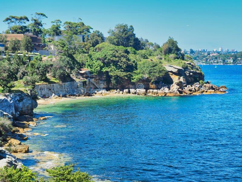 高级观点的Bay Beach,悉尼港口,澳大利亚夫人 免版税库存图片