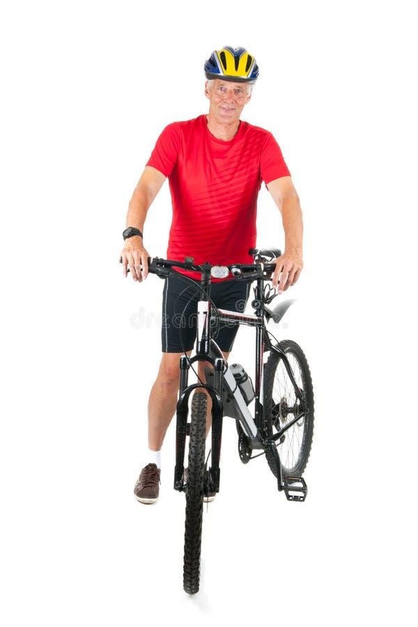 高级mountainbiker 免版税图库摄影
