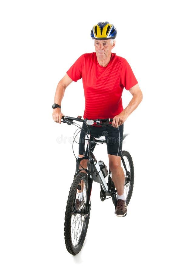 高级mountainbiker 免版税库存图片