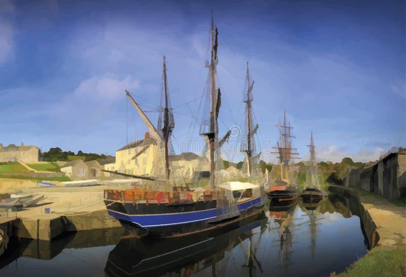 高船在历史的查尔斯顿港口,康沃尔郡 向量例证