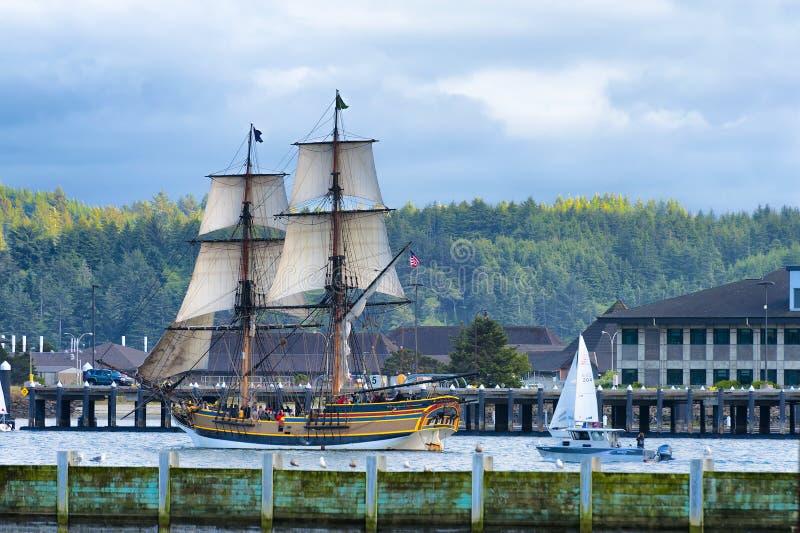 高船夫人华盛顿在纽波特,俄勒冈 免版税库存照片