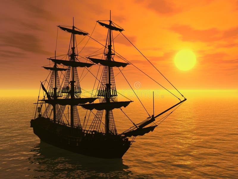 高船的日落 皇族释放例证