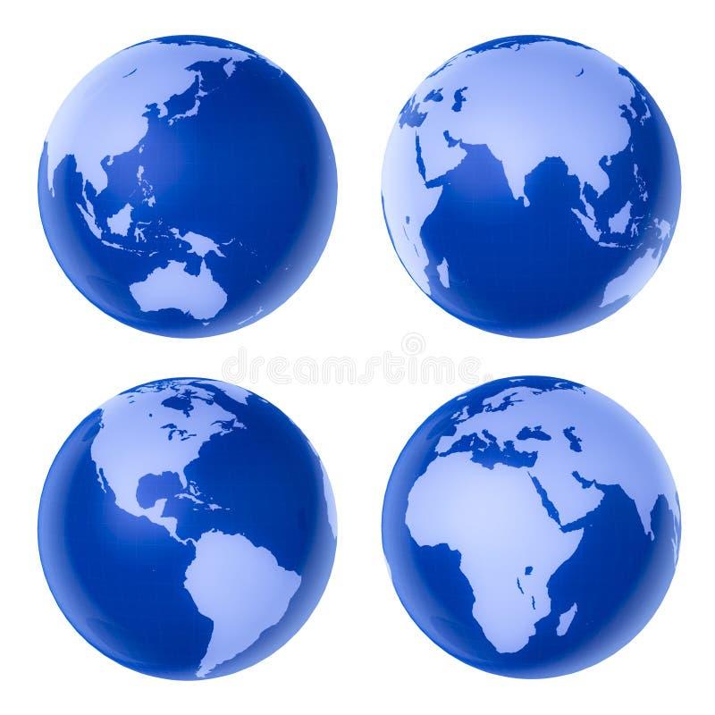 高蓝色详细的地球四 皇族释放例证