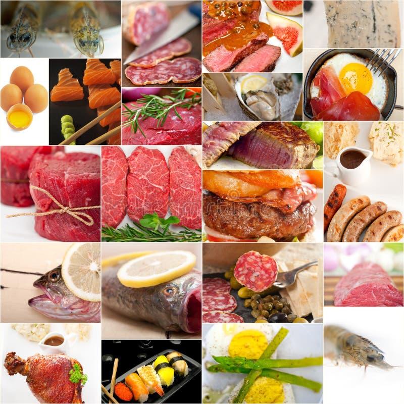 高蛋白食物汇集拼贴画 免版税库存图片