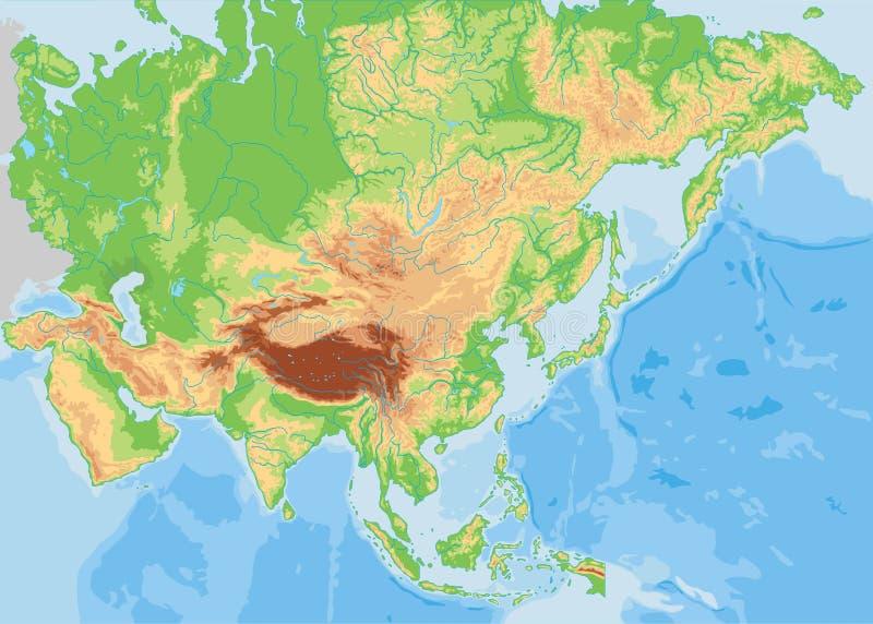 高详细的亚洲物理地图 库存例证