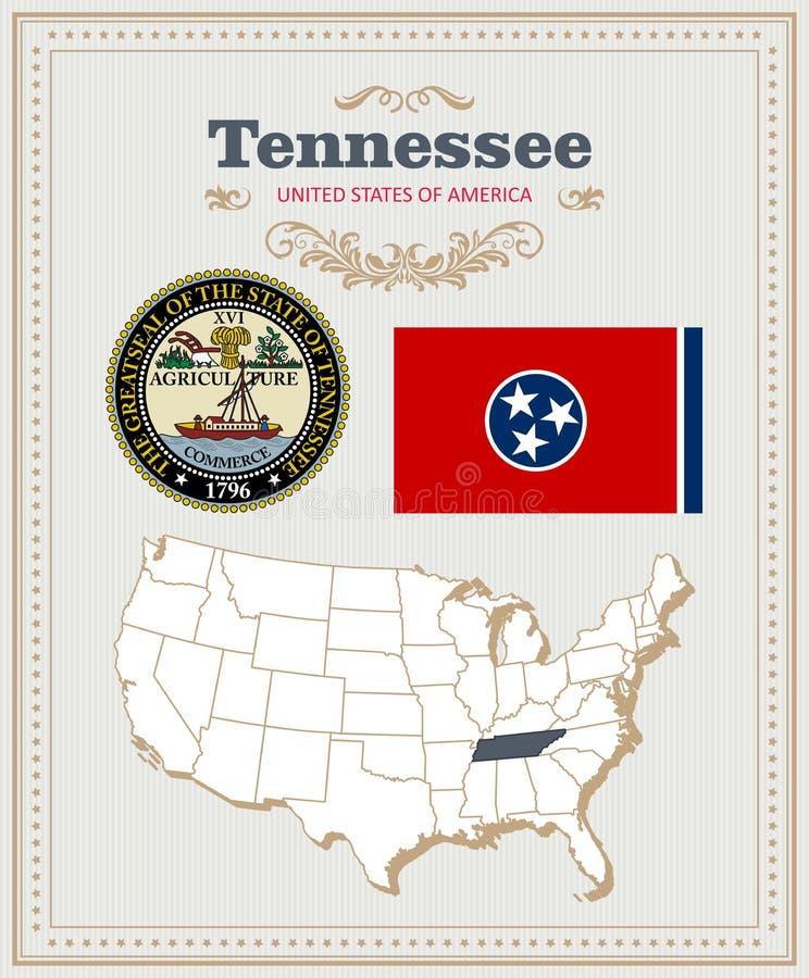 高详细的传染媒介设置了与旗子,徽章田纳西 美国海报 2007个看板卡招呼的新年好 库存例证