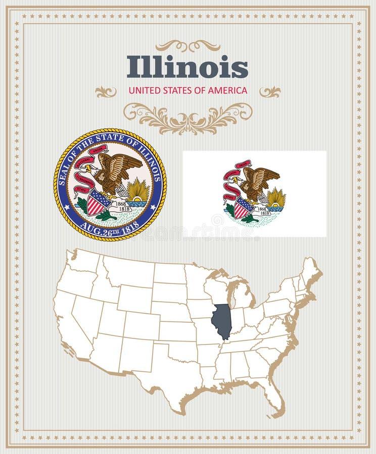 高详细的传染媒介设置了与旗子,徽章,伊利诺伊地图  美国海报 2007个看板卡招呼的新年好 库存例证