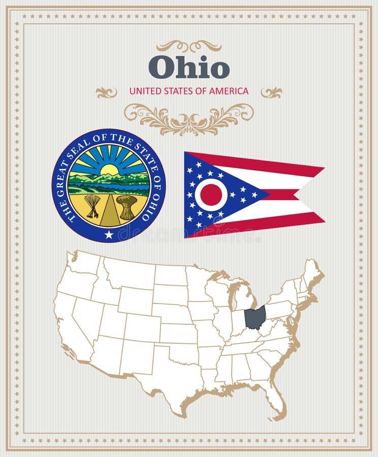 高详细的传染媒介设置了与旗子,徽章,俄亥俄的地图 美国海报 2007个看板卡招呼的新年好 皇族释放例证