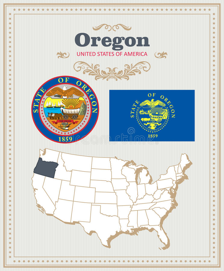 高详细的传染媒介设置了与旗子,徽章,俄勒冈的地图 美国海报 2007个看板卡招呼的新年好 向量例证