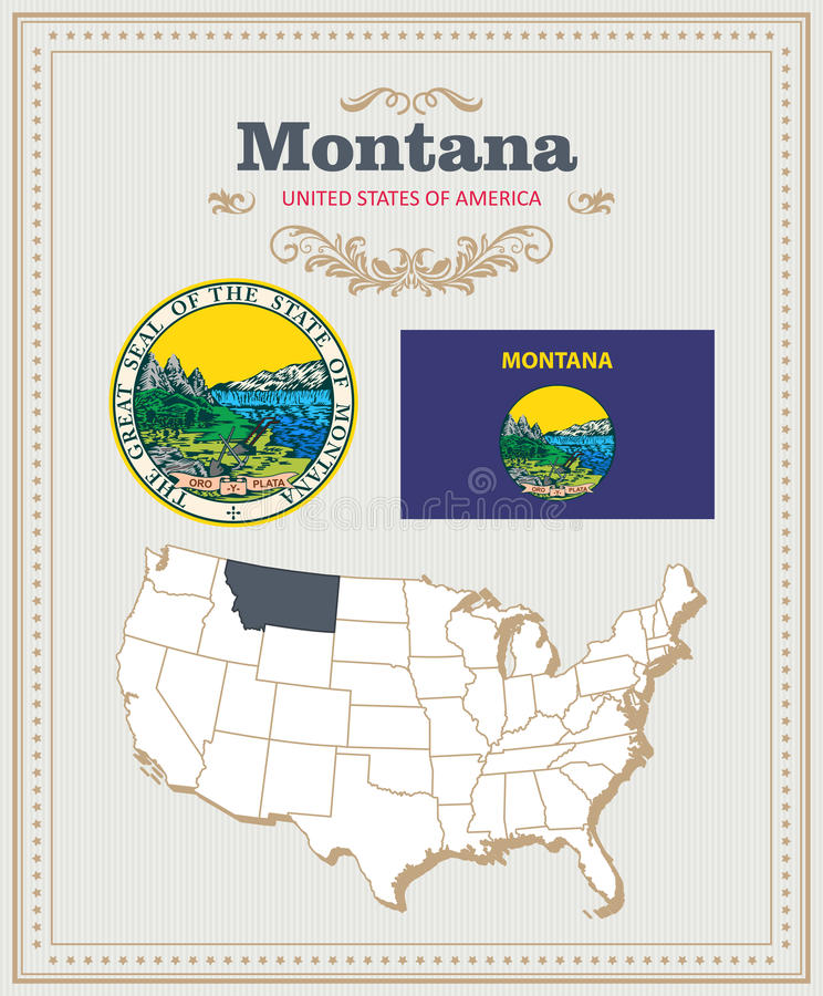 高详细的传染媒介设置了与旗子,徽章,蒙大拿的地图 美国海报 2007个看板卡招呼的新年好 皇族释放例证