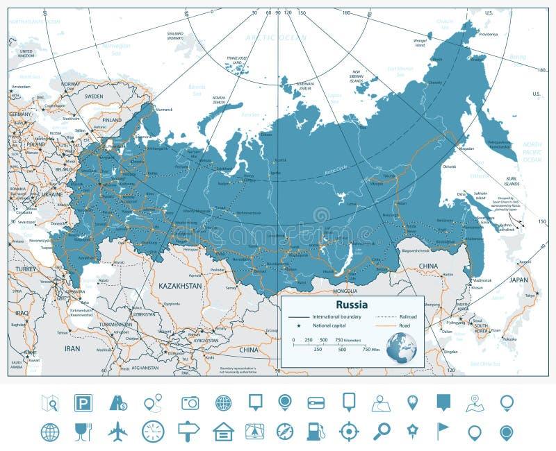 高详细的俄罗斯路线图和航海象 库存例证