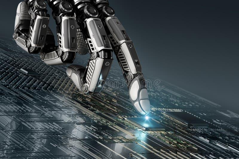 高详细的机器人与索引finge的手感人的数字电路板 皇族释放例证
