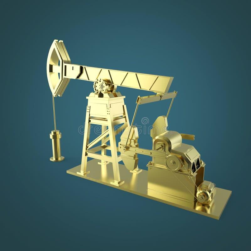 高详细的贵重的石油泵浦起重器,船具 被隔绝的翻译 燃料产业,经济危机例证 库存例证