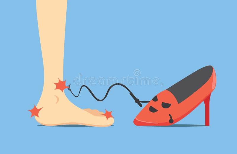 高跟鞋做痛苦 皇族释放例证