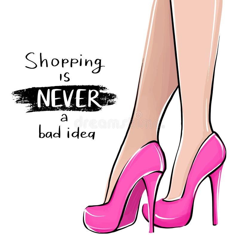 高跟鞋的传染媒介女孩 方式例证 在鞋子的女性腿 皇族释放例证