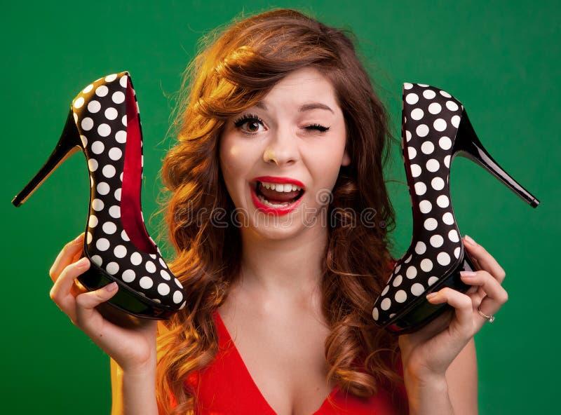 高跟鞋纵向 免版税库存图片