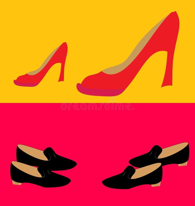 高跟鞋鞋子 两个对不同 皇族释放例证