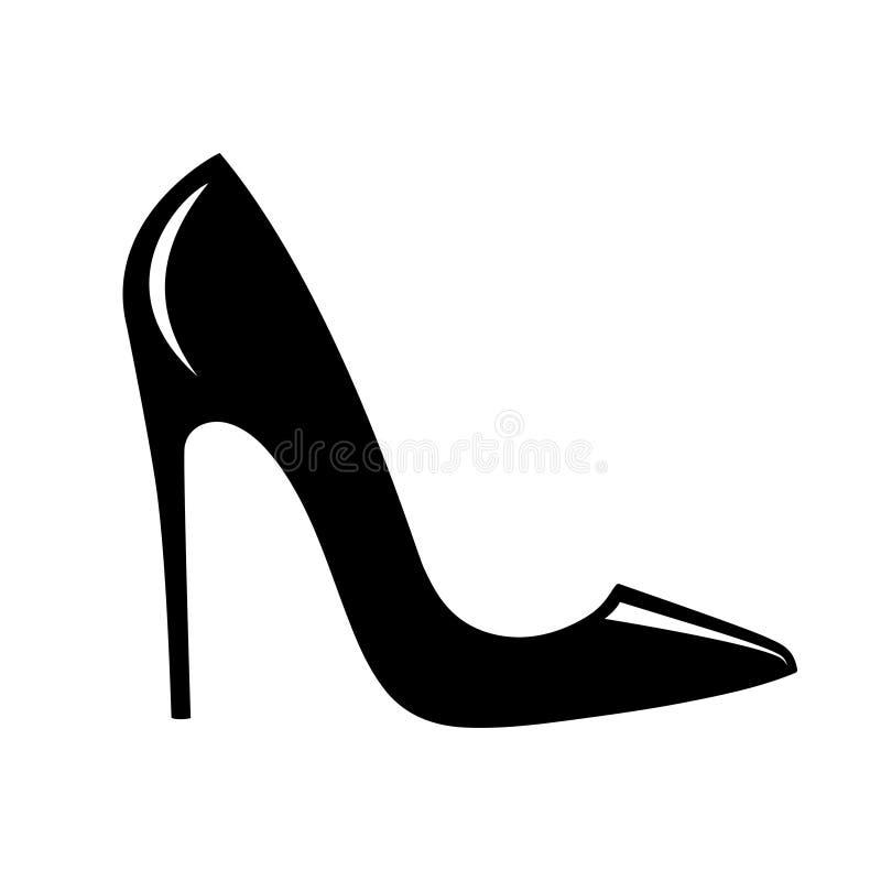 高跟鞋黑色鞋子签字 向量例证