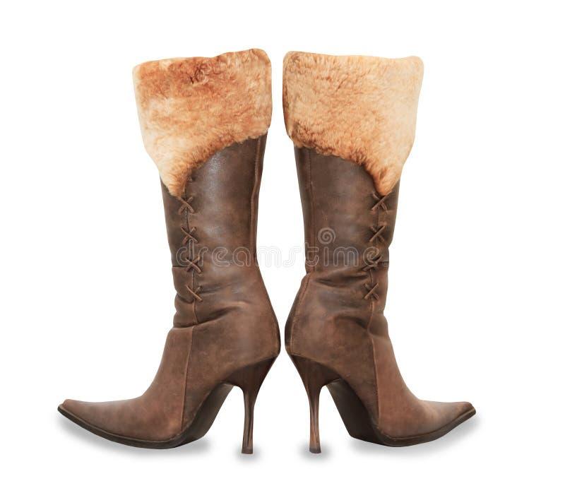 高跟鞋绒面革妇女起动被隔绝在白色 库存图片