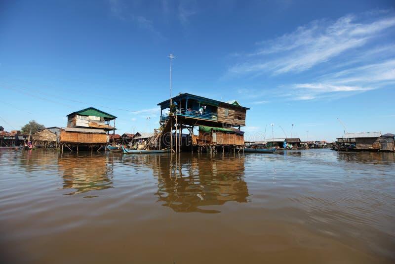 高跷的竹房子在缅甸的Inle湖 免版税图库摄影