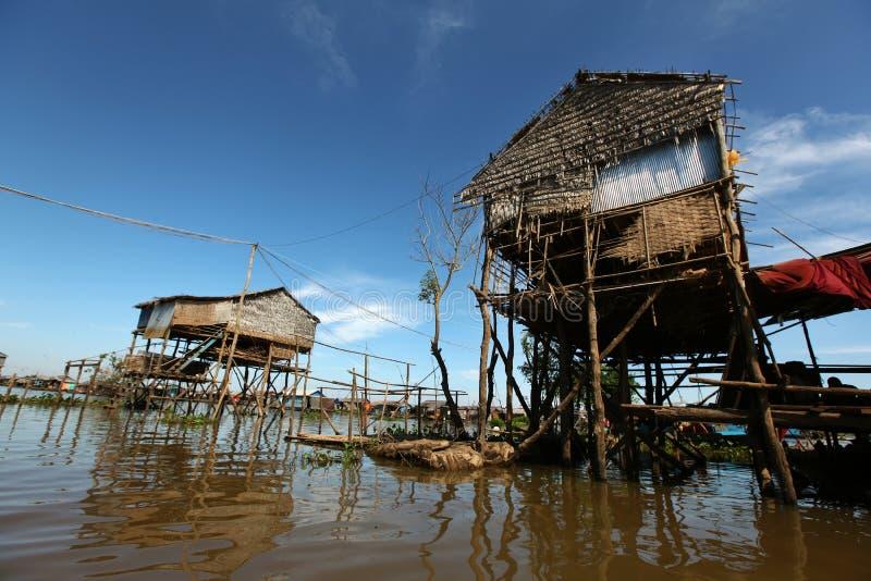 高跷的竹房子在Inle湖,缅甸 库存照片