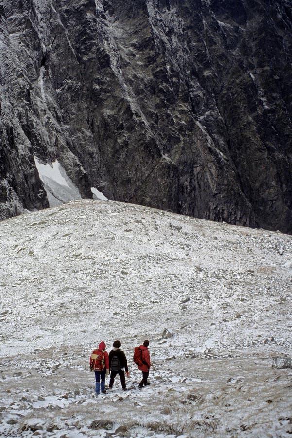 高远足者雪tatras 免版税图库摄影
