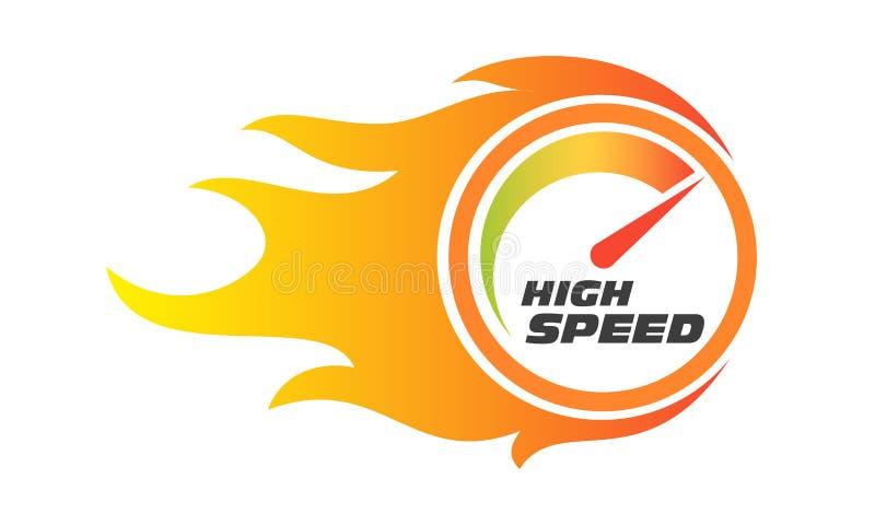 高速互联网表现测量仪火焰车速表 皇族释放例证
